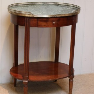 French Mahogany Marble Top Gueridon Table