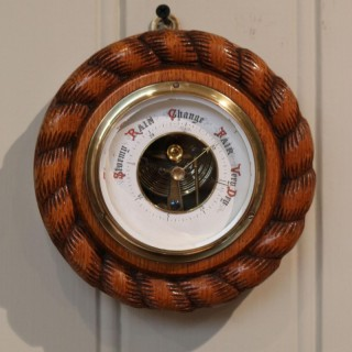 Small Oak Rope Twist Aneroid Barometer