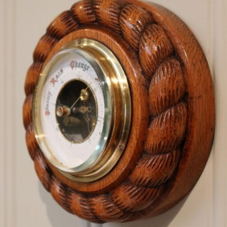 Small Oak Rope Twist Aneroid Barometer