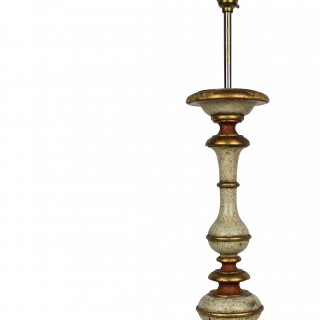 A FLORENTINE  PAINTED & GILDED LAMP