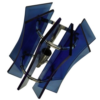 A PAIR OF BLUE GLASS SCONCES BY VECA