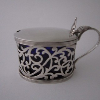 Antique Edwardian Sterling silver mustard pot