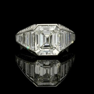 3.02 carat G VS1 Old Emerald Cut Diamond ring with tapering baguette & diamond shoulders by Hancocks