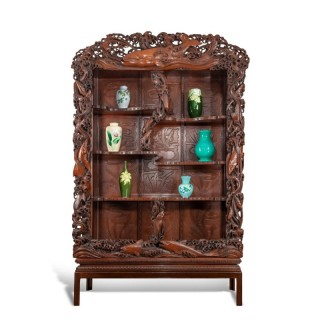 A superb monumental Meiji period hard wood display cabinet, by Noguchi of Yokahama
