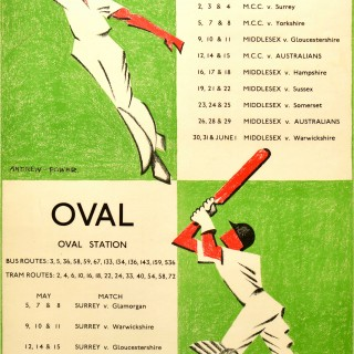 Original Vintage London Transport Poster Lord's Cricket Ground & The Oval Cricket Ground