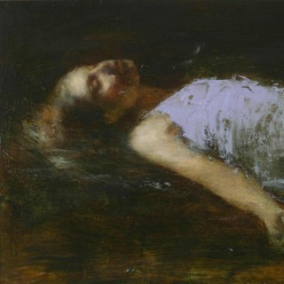 'Amy Reclined I' original oil painting by contemporary British artist Mark Demsteader