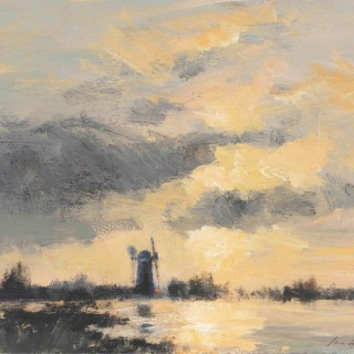 'A Norfolk Drainage Mill – Evening Light' by contemporary British artist Ian Houston