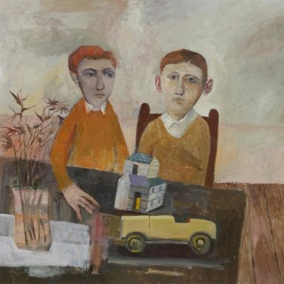 'Children with Toy Car' by contemporary British artist Simon Quadrat