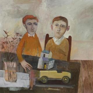 'Children with Toy Car' by contemporary British artist Simon Quadrat