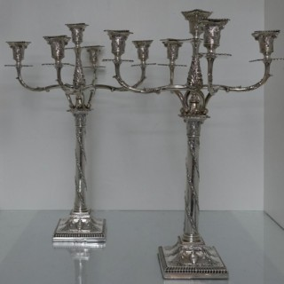 Early 20th Century Edwardian Sterling Silver Pair Five Light Candelabra Lon 1909 Mappin and Webb