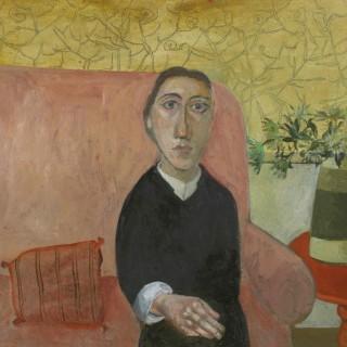 'Woman on a Sofa' by contemporary British artist Simon Quadrat