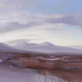 'The Setting Sun Lighting up the Land, Black Mount' by contemporary Scottish artist Chris Bushe