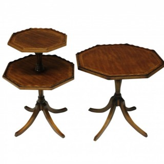 A PAIR OF ENGLISH MAHOGANY OCTAGONAL SIDE TABLES