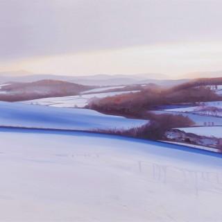 'A Winter's Sun Casts its Final Golden Glow, Bogenchapel' by contemporary Scottish artist Chris Bushe