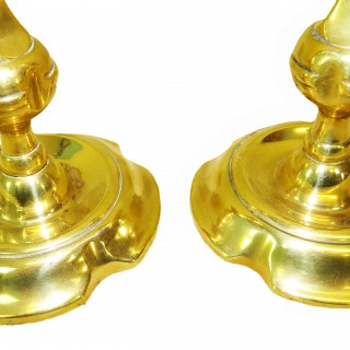 18th Century Georgian Pair Of Brass Candlesticks