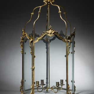English 18th Century George III Gilt Brass Rococo Hall Lantern