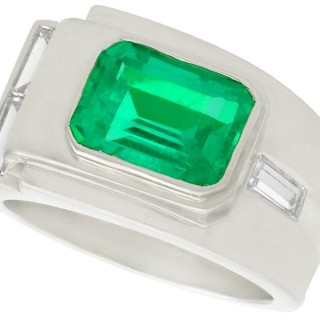 1.80ct Colombian Emerald and 0.43ct Diamond, Platinum Dress Ring - Art Deco - Antique Circa 1930