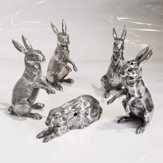 Antique Silver Rabbit Condiment Set