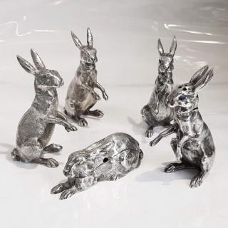 Antique Silver Rabbit Condiment Set