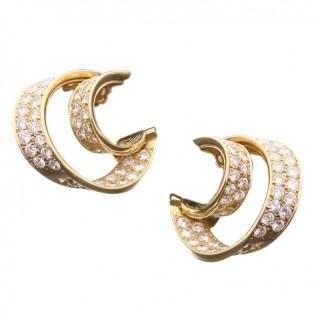 Van Cleef & Arpels - Twin Hoop Diamond Earrings 1980