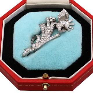 3.67ct Diamond and Platinum Floral Brooch - Art Deco - Antique Circa 1930