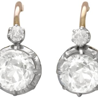 2.40ct Diamond and 18 ct Yellow Gold Drop Earrings - French Antique Circa 1900
