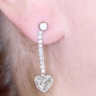 5.35ct Diamond and Platinum Earrings - Vintage Circa 1990