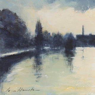 'Evening Light on the Thames at Mortlake' impressionist painting by Edward Seago's pupil Ian Houston