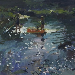 'Summer Days (The Dinghy)' impressionist painting by contemporary artist Luke Martineau
