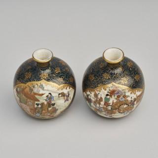 A decorative miniature pair of Satsuma vases signed Ryozan
