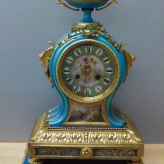 French Porcelain and Ormolu Mantel Clock