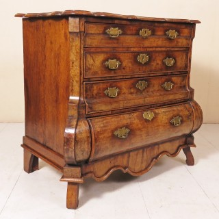 18th Century Dutch Walnut Bombe Commode