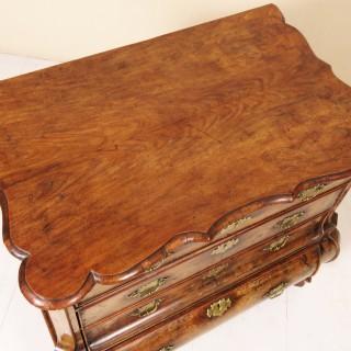 18th Century Dutch Walnut Bombe Commode