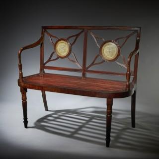 Superb George III 18th Century Mahogany Hall Bench / Window Seat