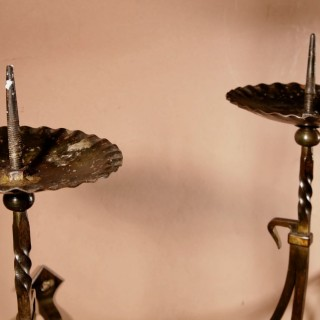 A Pair Of Beautiful Arts And Crafts Wrought Iron Adjustable Wall Candelabras.