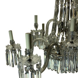 A LARGE NINE ARM XIX CENTURY CUT GLASS CHANDELIER