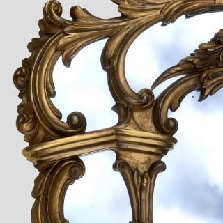 Antique Victorian Giltwood Overmantel Mirror