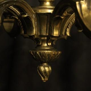 French Bronze 6 Light Antique Chandelier