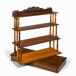 A set of Anglo-Ceylonese specimen wood campaign wall shelves in a travelling box