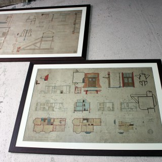 Two Large Framed Edwardian Period Architect's Site Plan Drawings for Barnsley Hall Lunatic Asylum, by George T. Hine Architect c.1902