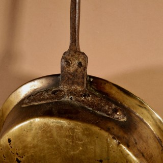 A Decorative French/German 18th century Brass Bed Warming Pan.