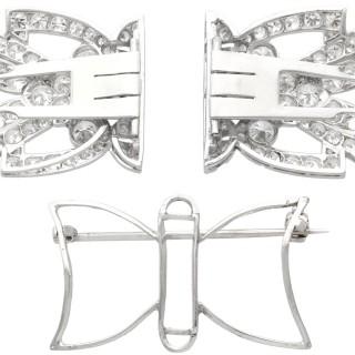 7.27ct Diamond and Platinum, 18ct White Gold Double Clip Brooch - Art Deco - Antique Circa 1930