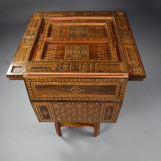 Highly decorative early 20th century Middle Eastern Damascus inlaid games table