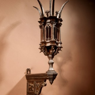 A Magnificent Very Fine Cast White Metal God Lamp / Lantern.