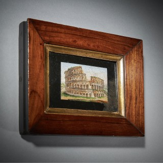 Early 19th Century Grand Tour Framed Pulvinated Micro Mosaic of the Colosseum