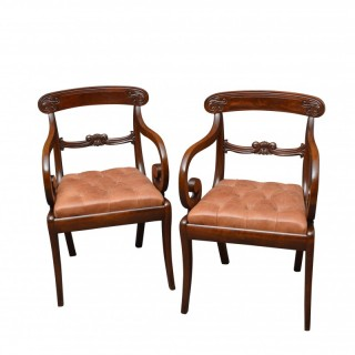 Pair Of William IV Mahogany Carve Chairs