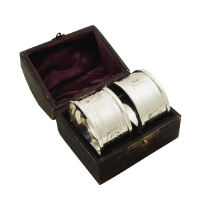 Pair of Antique Sterling Silver Napkin Rings in Case 1913