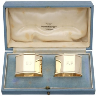 9ct Yellow Gold Napkin Rings - Vintage George VI (1940)