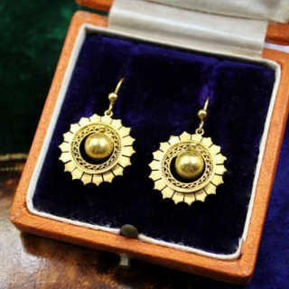 A very fine pair of Victorian Drop Earrings set in 15ct Yellow gold (tested), English, Circa 1900