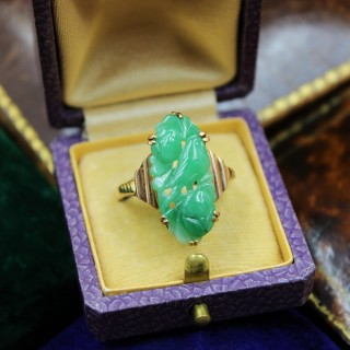 A superb Art Deco Carved Natural Jadeite Ring set in 9ct Yellow Gold, Circa 1930